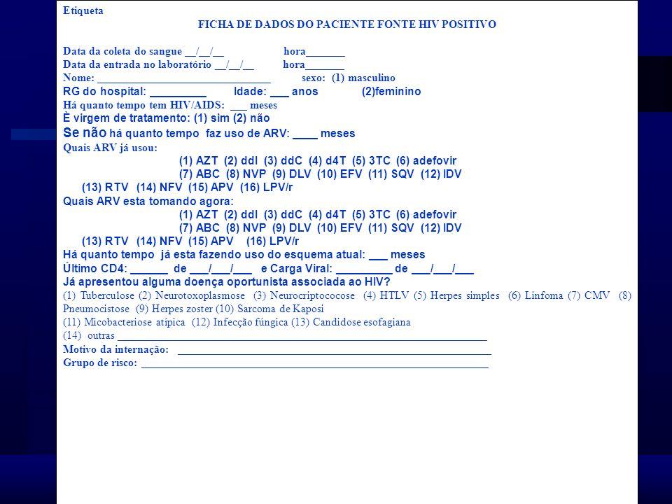 Agência Nacional de Vigilância Sanitária www.anvisa.gov.br Etiqueta FICHA DE DADOS DO PACIENTE FONTE HIV POSITIVO Data da coleta do sangue __/__/__ ho
