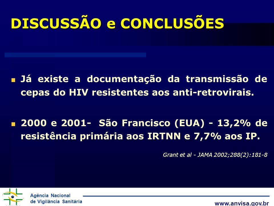 Agência Nacional de Vigilância Sanitária www.anvisa.gov.br Já existe a documentação da transmissão de cepas do HIV resistentes aos anti-retrovirais. 2