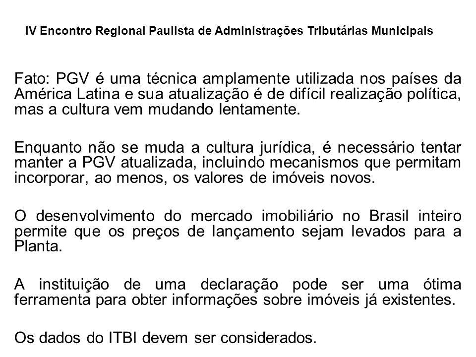 Fato: PGV é uma técnica amplamente utilizada nos países da América Latina e sua atualização é de difícil realização política, mas a cultura vem mudando lentamente.