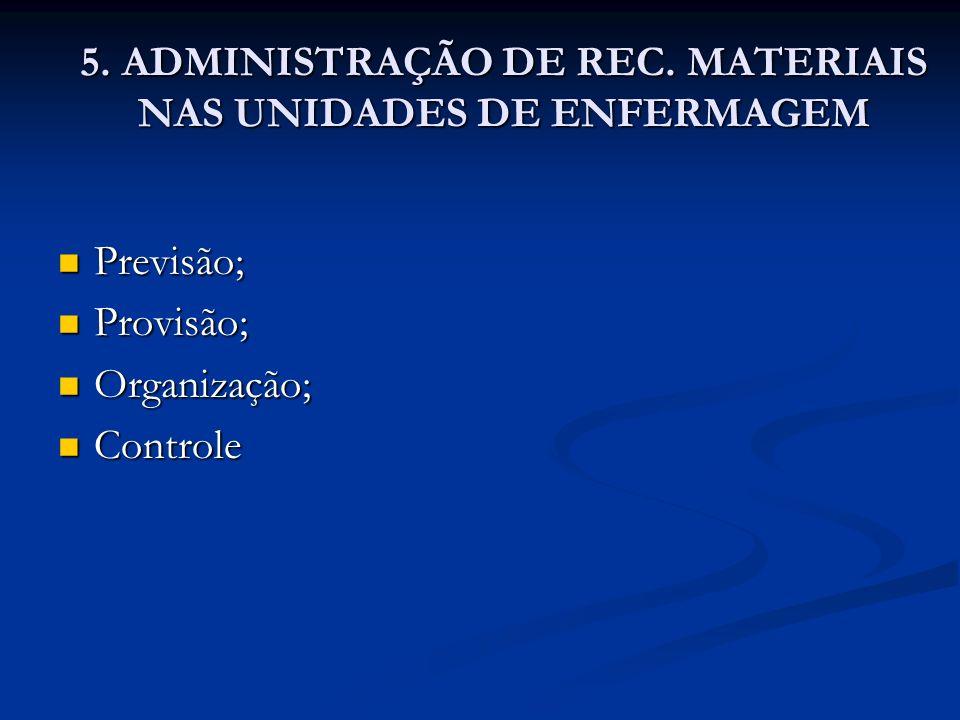 5. ADMINISTRAÇÃO DE REC. MATERIAIS NAS UNIDADES DE ENFERMAGEM Previsão; Previsão; Provisão; Provisão; Organização; Organização; Controle Controle