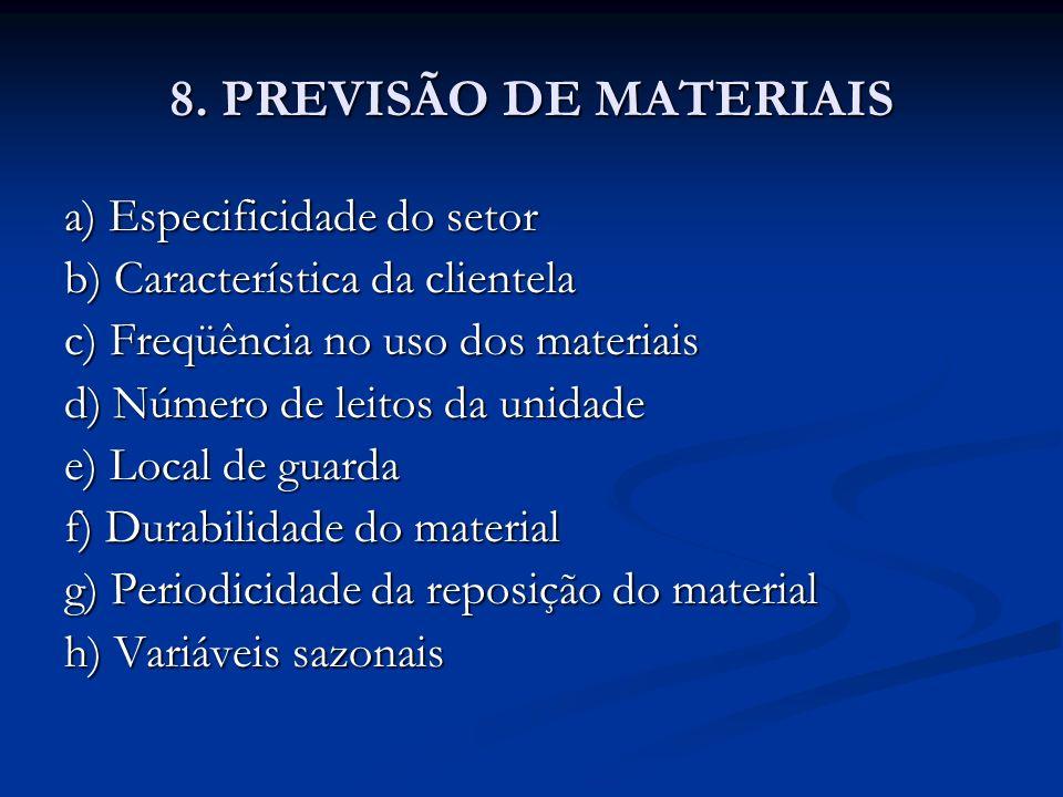 8. PREVISÃO DE MATERIAIS a) Especificidade do setor b) Característica da clientela c) Freqüência no uso dos materiais d) Número de leitos da unidade e