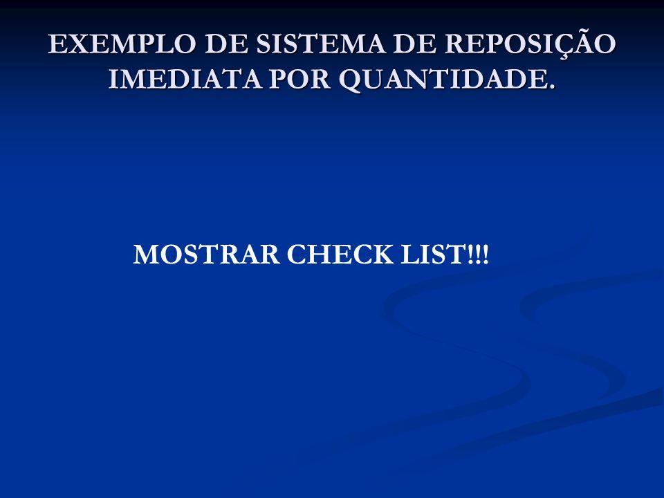 EXEMPLO DE SISTEMA DE REPOSIÇÃO IMEDIATA POR QUANTIDADE. MOSTRAR CHECK LIST!!!