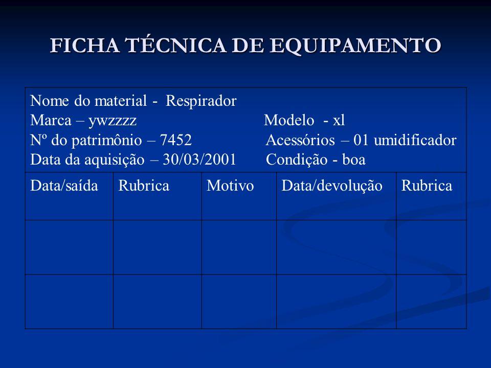 FICHA TÉCNICA DE EQUIPAMENTO Nome do material - Respirador Marca – ywzzzz Modelo - xl Nº do patrimônio – 7452 Acessórios – 01 umidificador Data da aqu