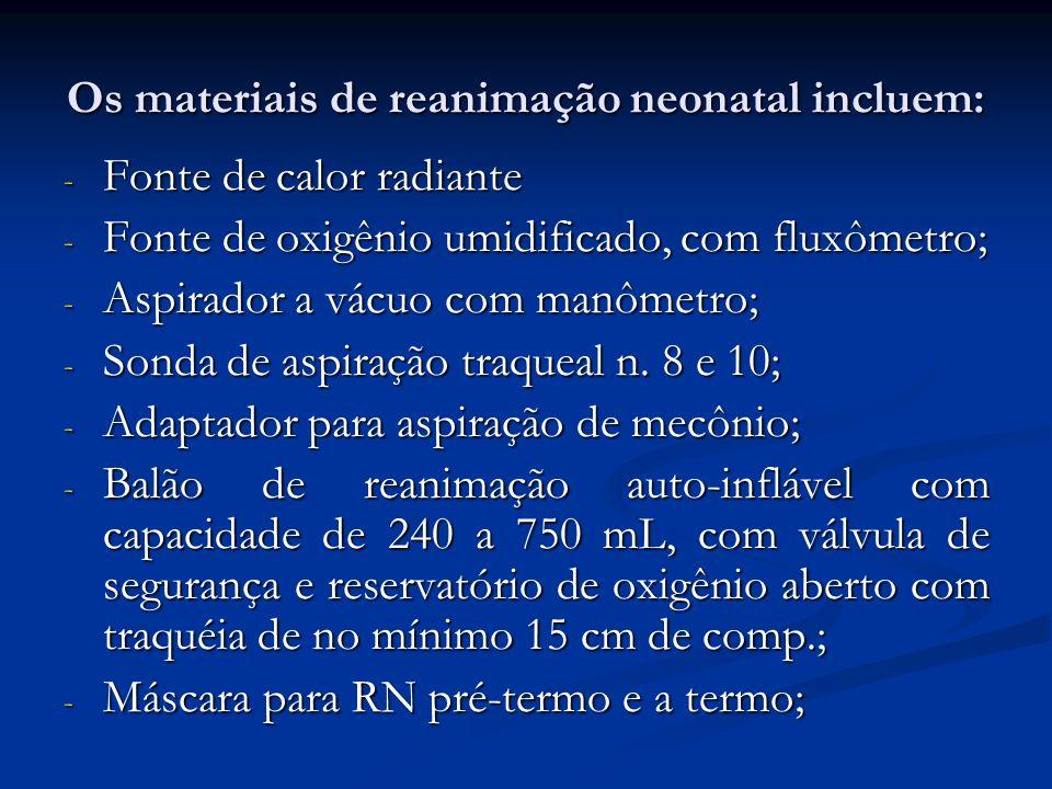 Os materiais de reanimação neonatal incluem: - Fonte de calor radiante - Fonte de oxigênio umidificado, com fluxômetro; - Aspirador a vácuo com manôme