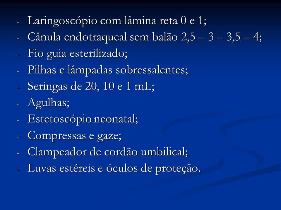 - Laringoscópio com lâmina reta 0 e 1; - Cânula endotraqueal sem balão 2,5 – 3 – 3,5 – 4; - Fio guia esterilizado; - Pilhas e lâmpadas sobressalentes;