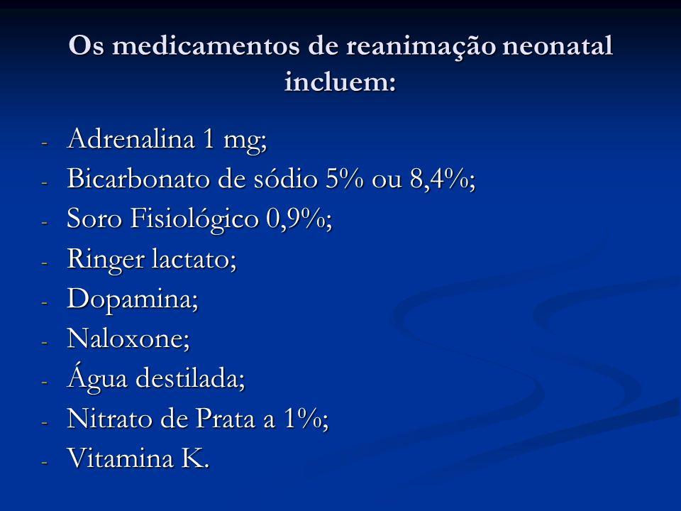Os medicamentos de reanimação neonatal incluem: - Adrenalina 1 mg; - Bicarbonato de sódio 5% ou 8,4%; - Soro Fisiológico 0,9%; - Ringer lactato; - Dop