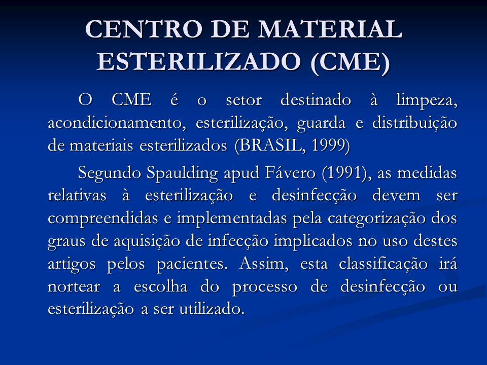 CENTRO DE MATERIAL ESTERILIZADO (CME) O CME é o setor destinado à limpeza, acondicionamento, esterilização, guarda e distribuição de materiais esteril