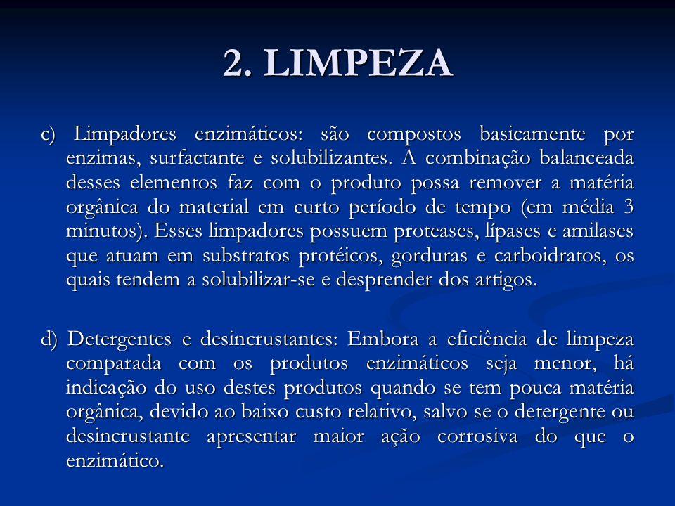 2. LIMPEZA c) Limpadores enzimáticos: são compostos basicamente por enzimas, surfactante e solubilizantes. A combinação balanceada desses elementos fa