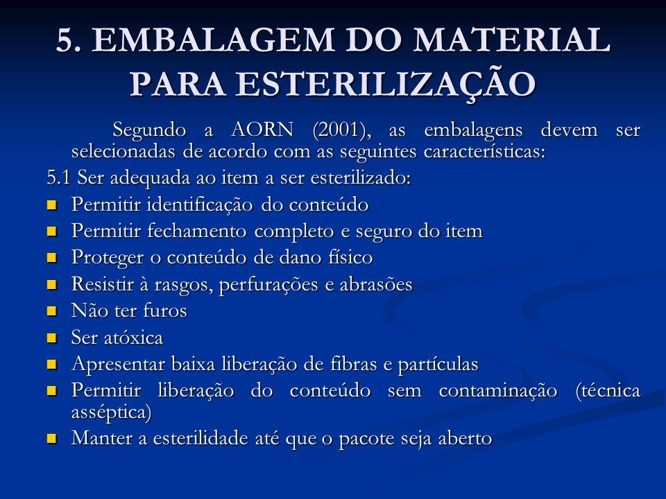 5. EMBALAGEM DO MATERIAL PARA ESTERILIZAÇÃO Segundo a AORN (2001), as embalagens devem ser selecionadas de acordo com as seguintes características: 5.