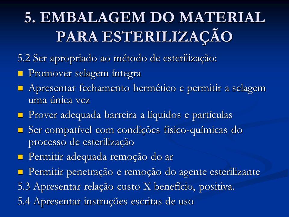 5. EMBALAGEM DO MATERIAL PARA ESTERILIZAÇÃO 5.2 Ser apropriado ao método de esterilização: Promover selagem íntegra Promover selagem íntegra Apresenta