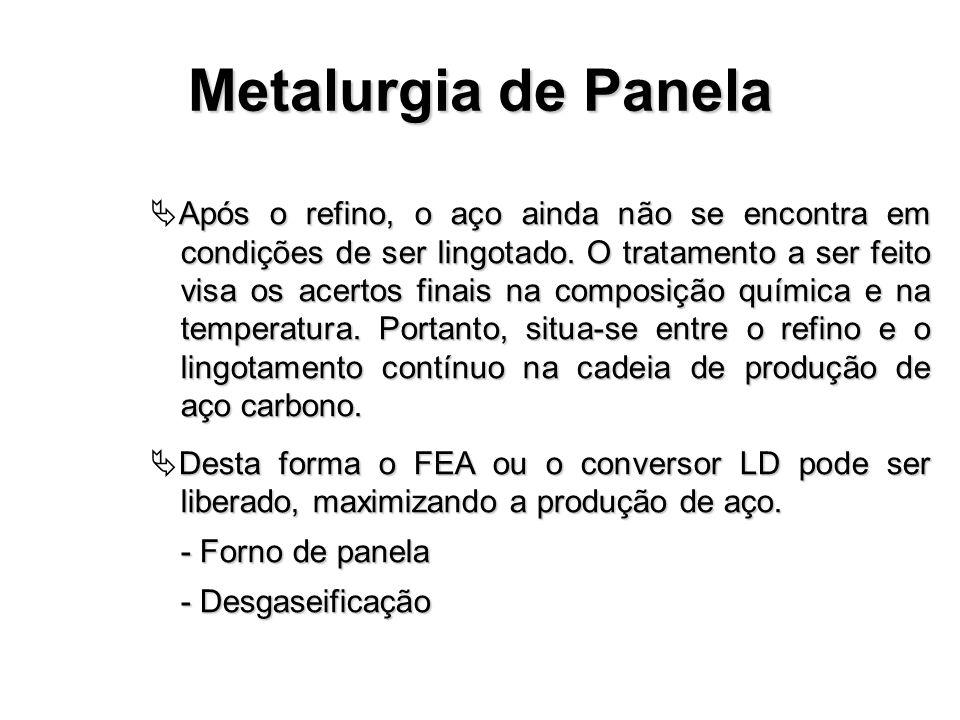 Metalurgia de Panela Após o refino, o aço ainda não se encontra em condições de ser lingotado. O tratamento a ser feito visa os acertos finais na comp