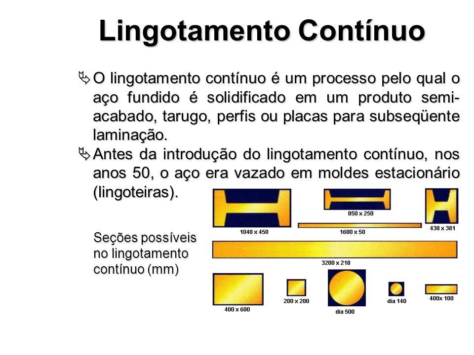 O lingotamento contínuo é um processo pelo qual o aço fundido é solidificado em um produto semi- acabado, tarugo, perfis ou placas para subseqüente la