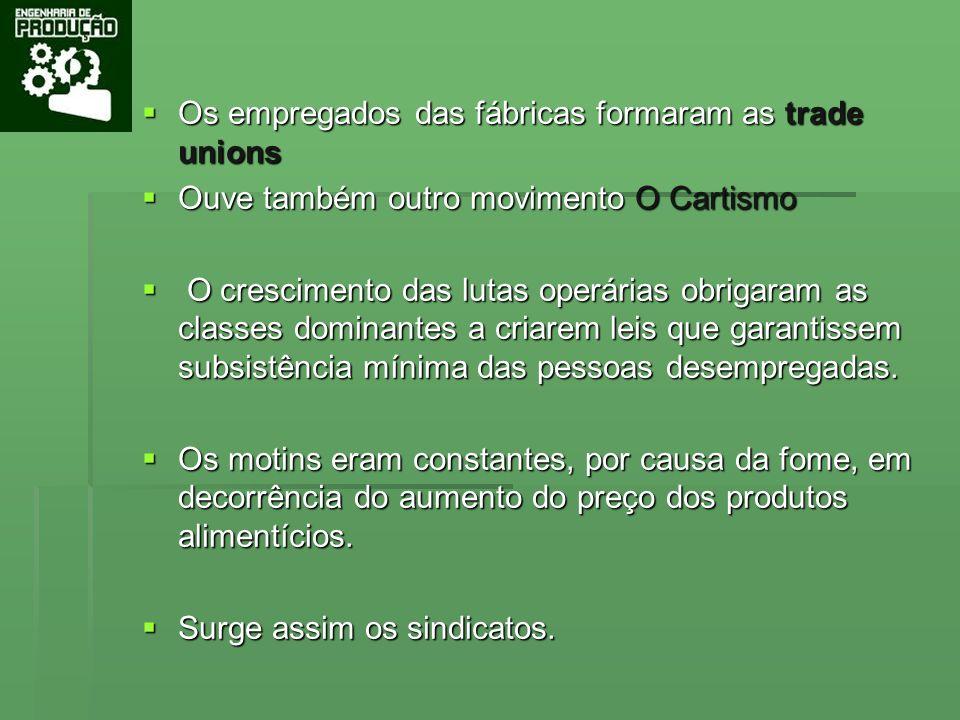 Os empregados das fábricas formaram as trade unions Os empregados das fábricas formaram as trade unions Ouve também outro movimento O Cartismo Ouve ta