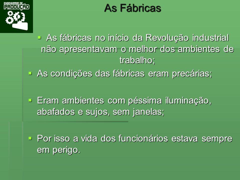 As Fábricas As fábricas no início da Revolução industrial não apresentavam o melhor dos ambientes de trabalho; As fábricas no início da Revolução indu