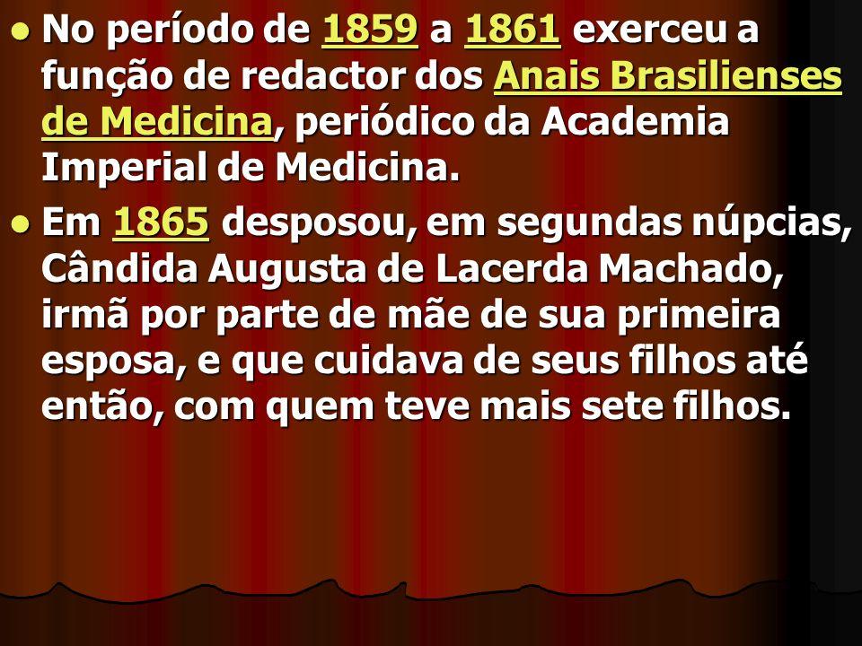 No período de 1859 a 1861 exerceu a função de redactor dos Anais Brasilienses de Medicina, periódico da Academia Imperial de Medicina. No período de 1