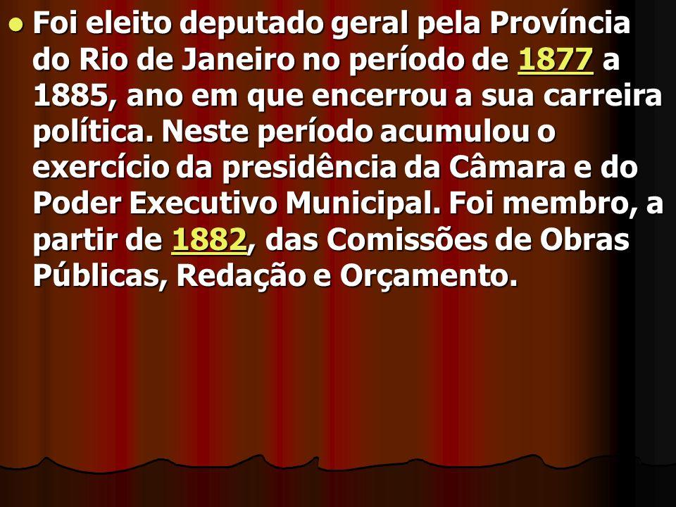 Foi eleito deputado geral pela Província do Rio de Janeiro no período de 1877 a 1885, ano em que encerrou a sua carreira política. Neste período acumu
