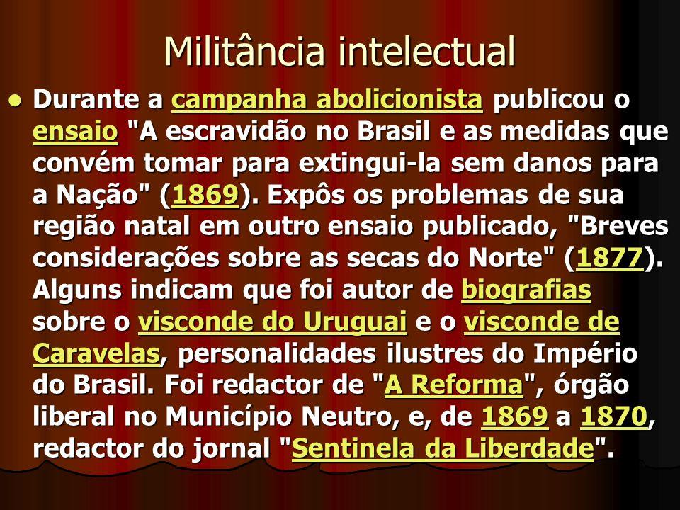 Militância intelectual Durante a campanha abolicionista publicou o ensaio A escravidão no Brasil e as medidas que convém tomar para extingui-la sem danos para a Nação (1869).