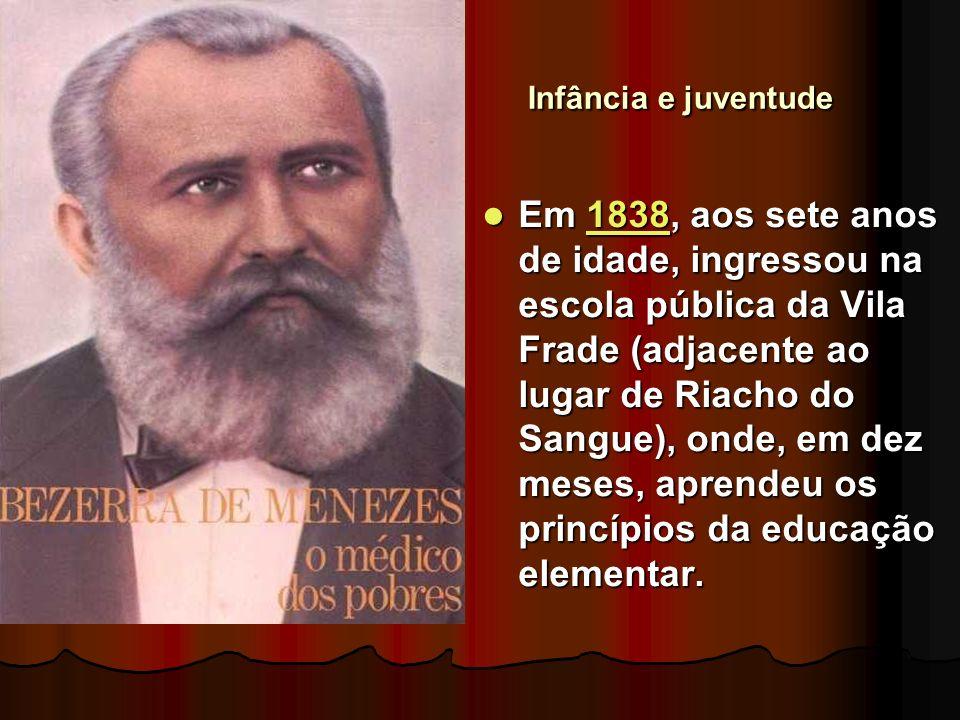 Infância e juventude Em 1838, aos sete anos de idade, ingressou na escola pública da Vila Frade (adjacente ao lugar de Riacho do Sangue), onde, em dez meses, aprendeu os princípios da educação elementar.