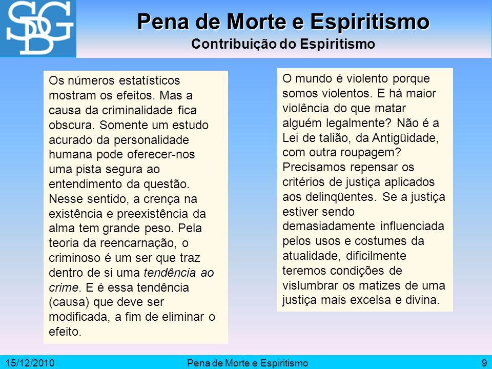 15/12/2010Pena de Morte e Espiritismo9 Contribuição do Espiritismo tendência ao crime Os números estatísticos mostram os efeitos. Mas a causa da crimi