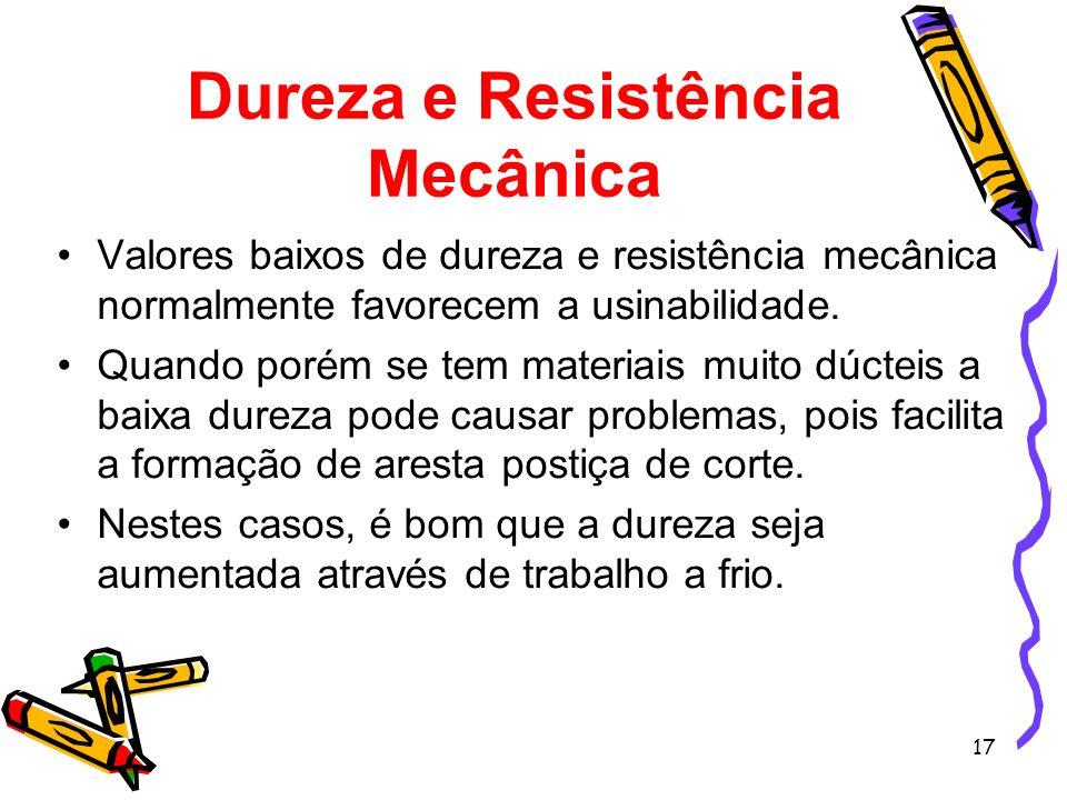 17 Dureza e Resistência Mecânica Valores baixos de dureza e resistência mecânica normalmente favorecem a usinabilidade. Quando porém se tem materiais