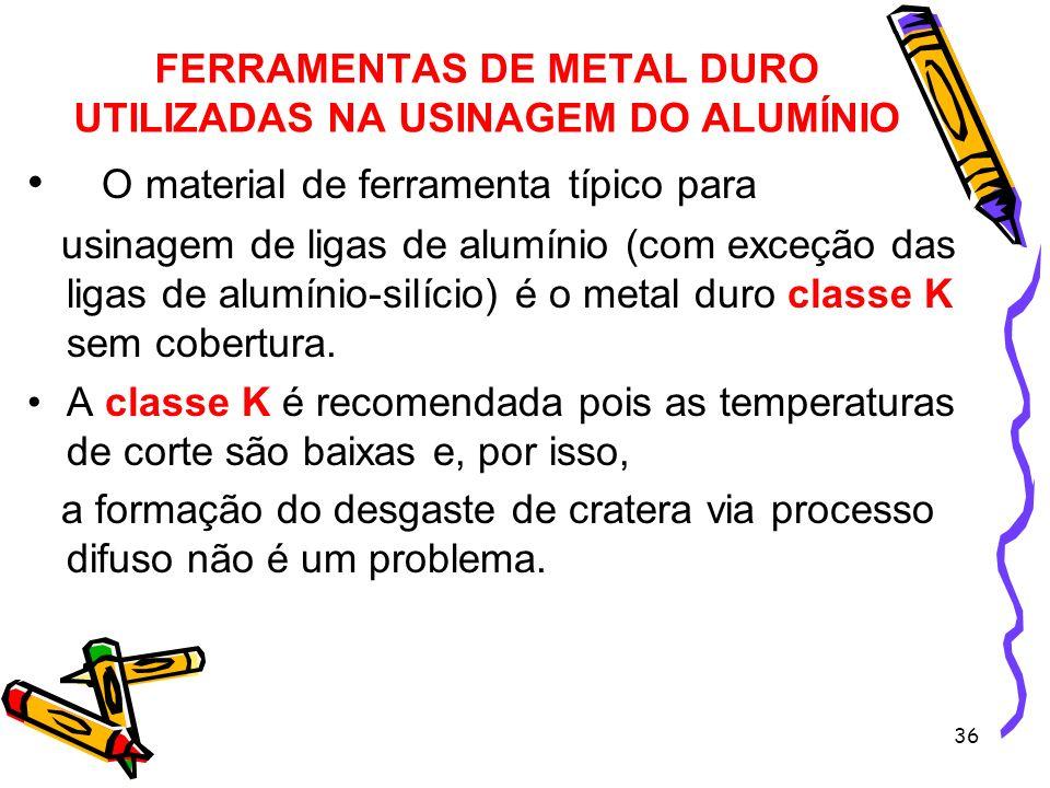 36 FERRAMENTAS DE METAL DURO UTILIZADAS NA USINAGEM DO ALUMÍNIO O material de ferramenta típico para usinagem de ligas de alumínio (com exceção das li