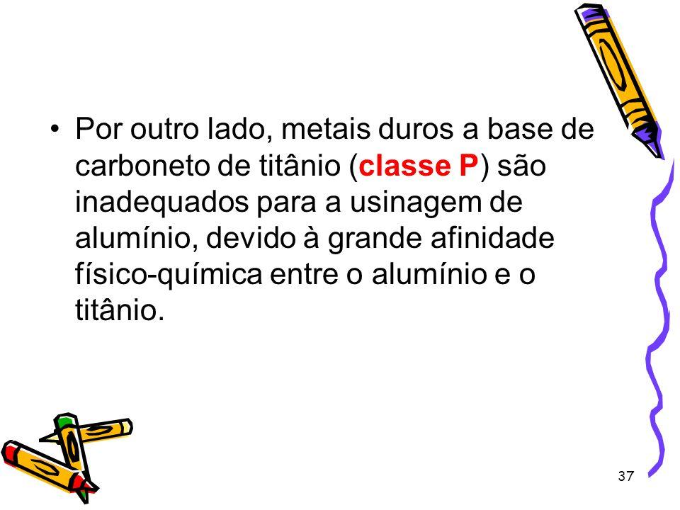 37 Por outro lado, metais duros a base de carboneto de titânio (classe P) são inadequados para a usinagem de alumínio, devido à grande afinidade físic
