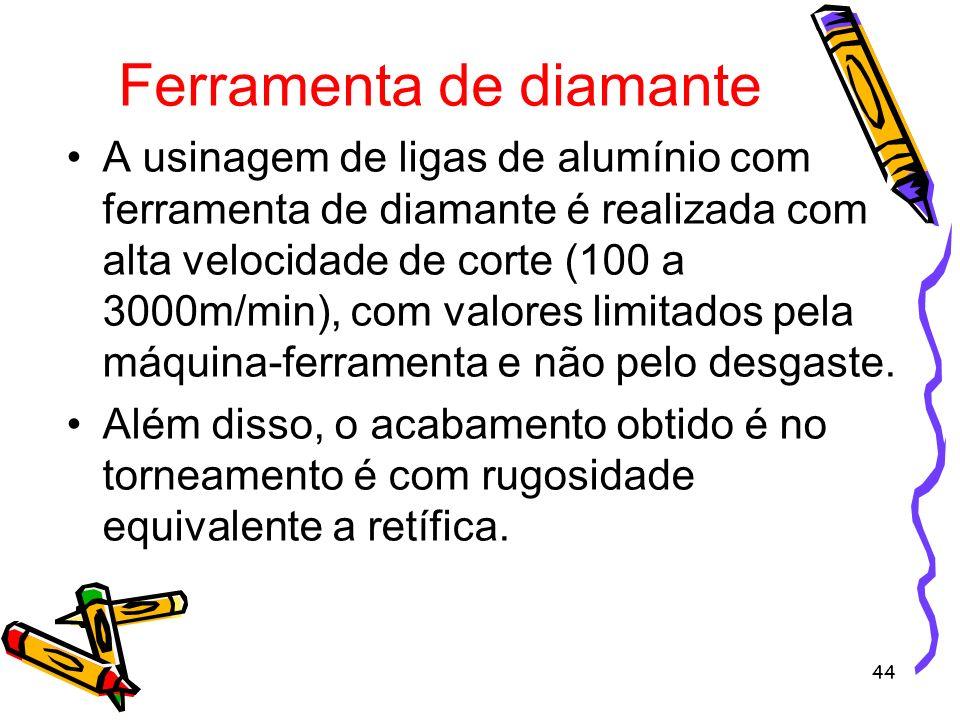 44 Ferramenta de diamante A usinagem de ligas de alumínio com ferramenta de diamante é realizada com alta velocidade de corte (100 a 3000m/min), com v