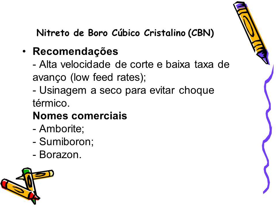 Nitreto de Boro Cúbico Cristalino (CBN) Recomendações - Alta velocidade de corte e baixa taxa de avanço (low feed rates); - Usinagem a seco para evita