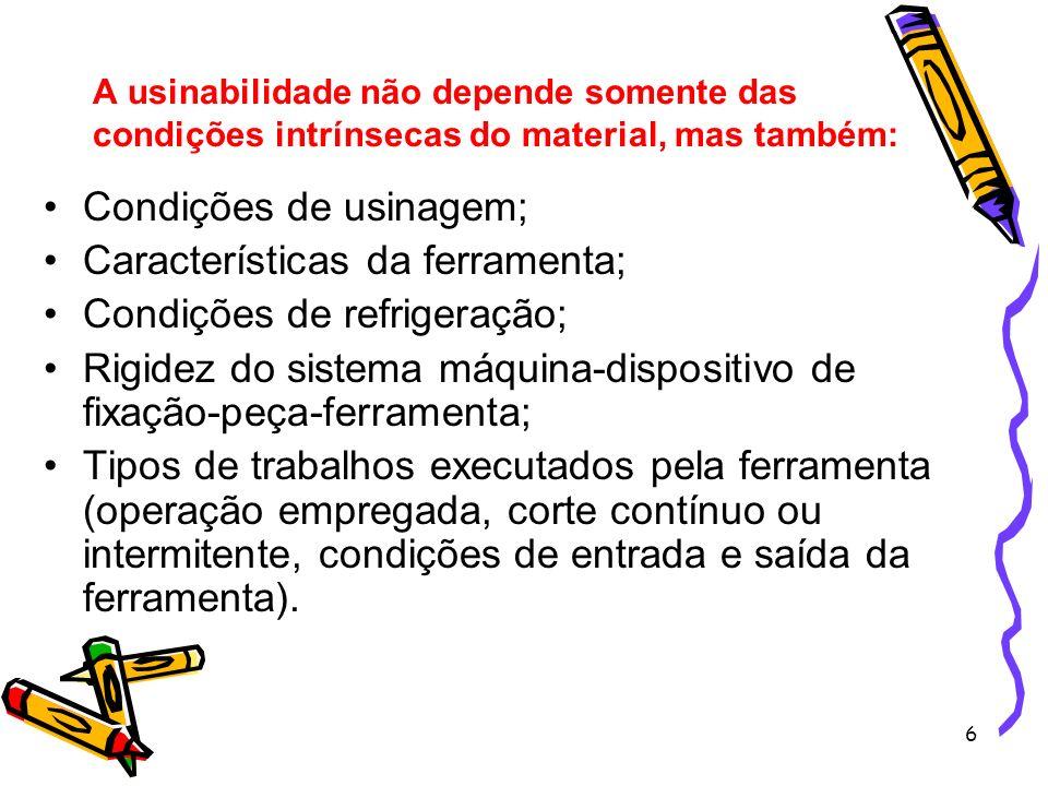 6 A usinabilidade não depende somente das condições intrínsecas do material, mas também: Condições de usinagem; Características da ferramenta; Condiçõ