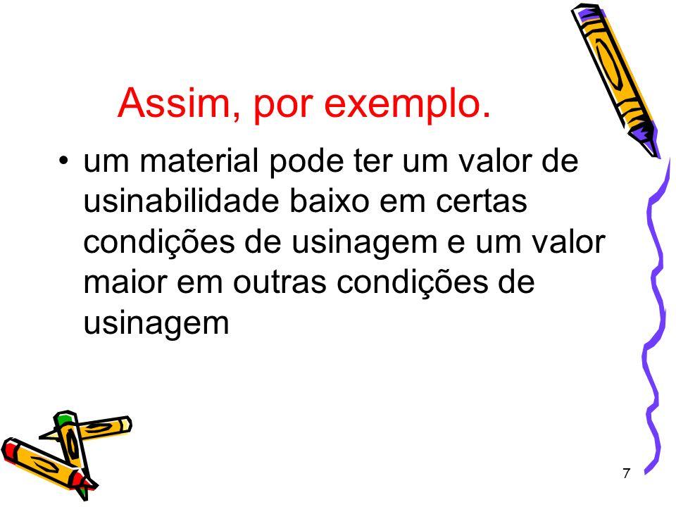 7 Assim, por exemplo. um material pode ter um valor de usinabilidade baixo em certas condições de usinagem e um valor maior em outras condições de usi