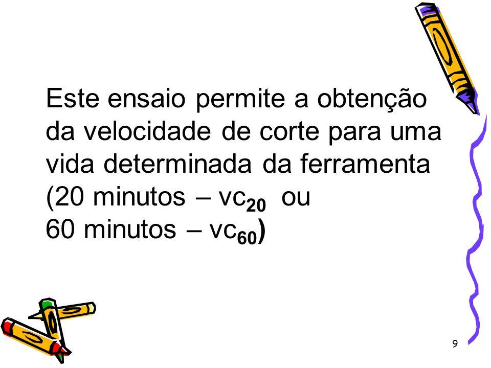 9 Este ensaio permite a obtenção da velocidade de corte para uma vida determinada da ferramenta (20 minutos – vc 20 ou 60 minutos – vc 60 )