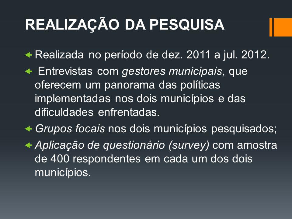 REALIZAÇÃO DA PESQUISA Realizada no período de dez. 2011 a jul. 2012. Entrevistas com gestores municipais, que oferecem um panorama das políticas impl