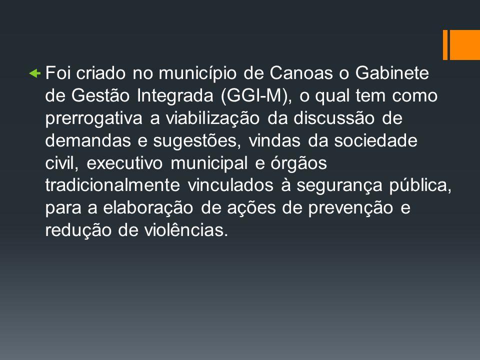 Foi criado no município de Canoas o Gabinete de Gestão Integrada (GGI-M), o qual tem como prerrogativa a viabilização da discussão de demandas e suges