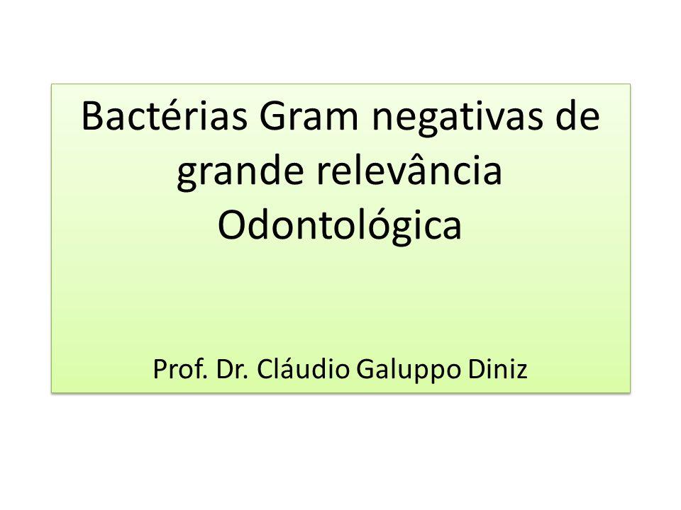 Bactérias Gram negativas de grande relevância Odontológica Prof. Dr. Cláudio Galuppo Diniz Bactérias Gram negativas de grande relevância Odontológica