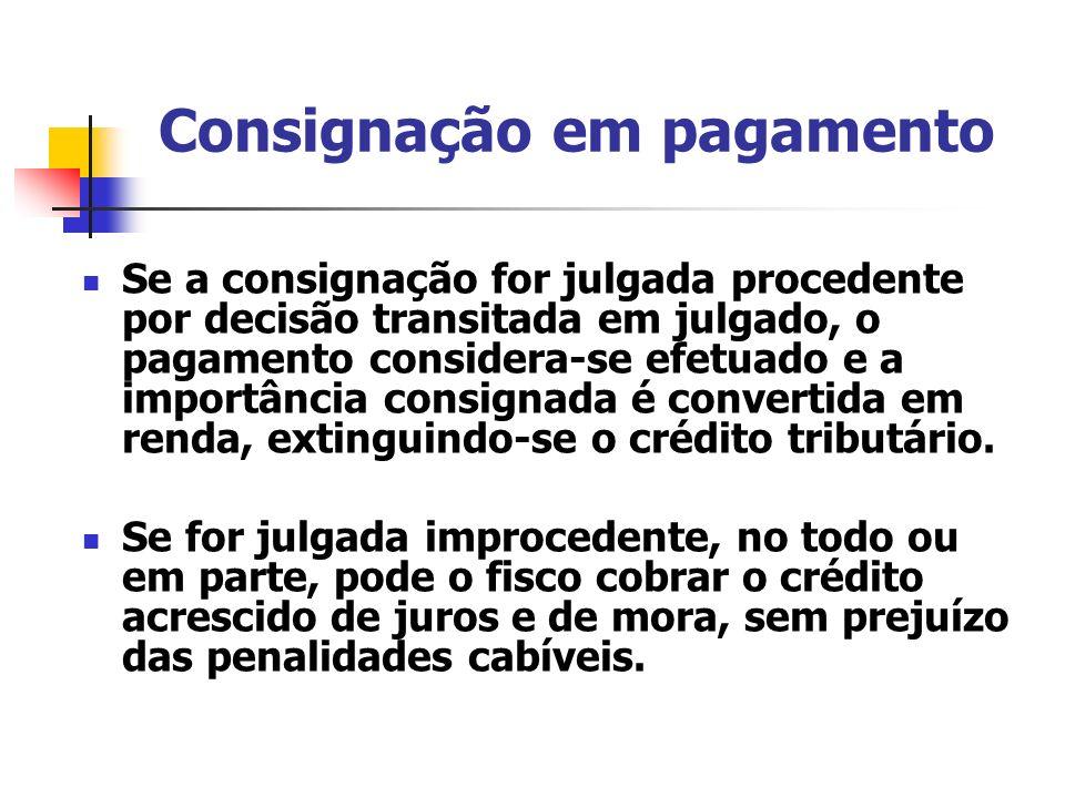 Consignação em pagamento Se a consignação for julgada procedente por decisão transitada em julgado, o pagamento considera-se efetuado e a importância