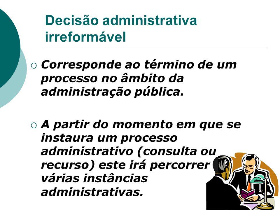 Decisão administrativa irreformável Corresponde ao término de um processo no âmbito da administração pública. A partir do momento em que se instaura u