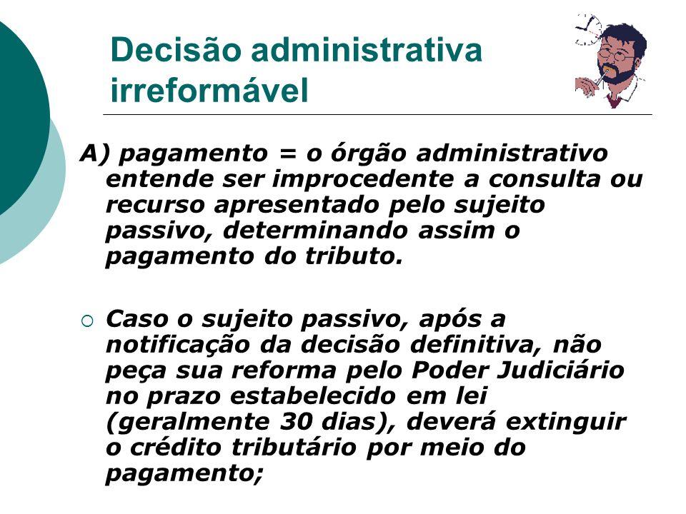 Decisão administrativa irreformável A) pagamento = o órgão administrativo entende ser improcedente a consulta ou recurso apresentado pelo sujeito pass
