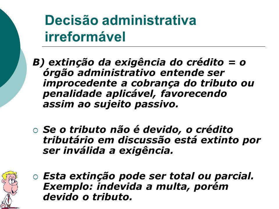 Decisão administrativa irreformável B) extinção da exigência do crédito = o órgão administrativo entende ser improcedente a cobrança do tributo ou pen