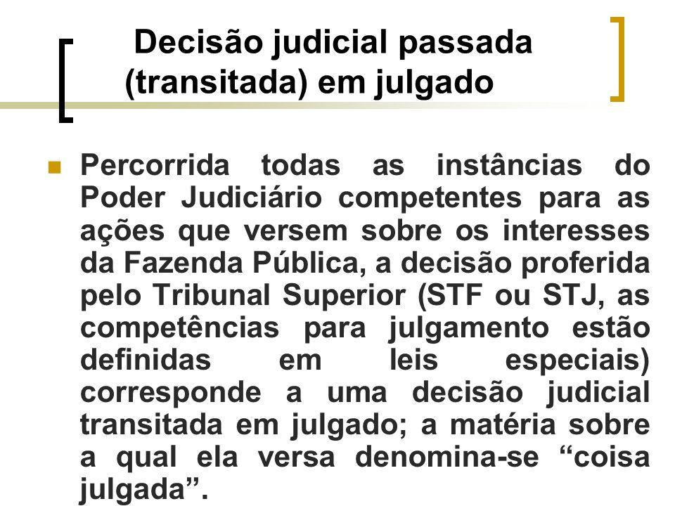 Decisão judicial passada (transitada) em julgado Percorrida todas as instâncias do Poder Judiciário competentes para as ações que versem sobre os inte