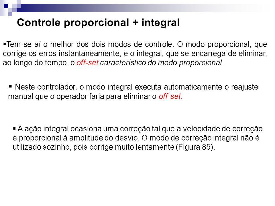 Controle proporcional + integral Tem-se aí o melhor dos dois modos de controle. O modo proporcional, que corrige os erros instantaneamente, e o integr