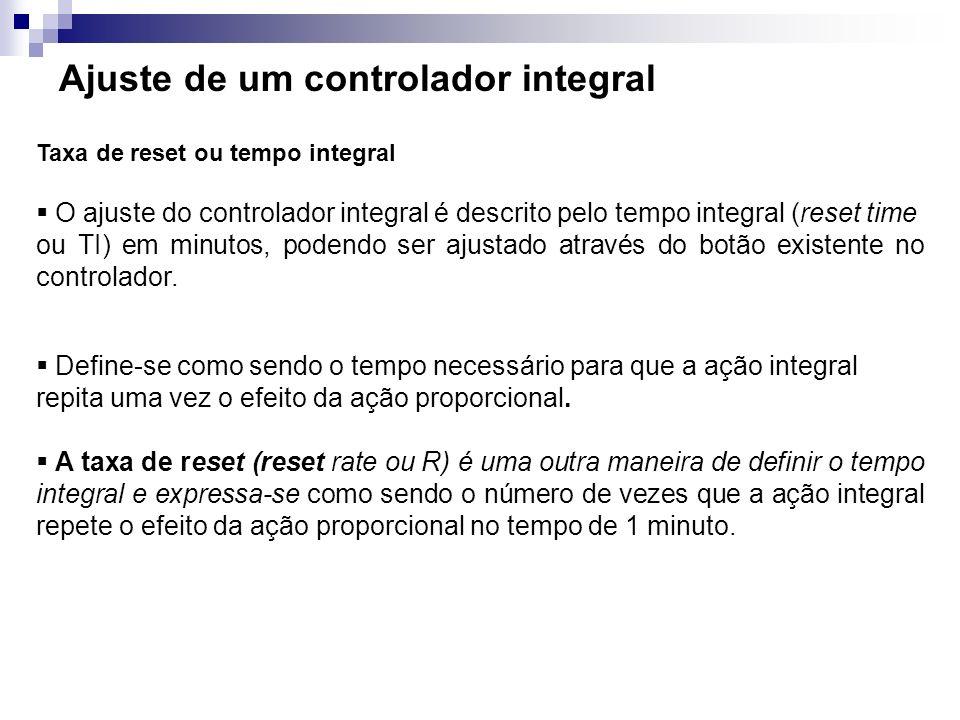 Ajuste de um controlador integral Taxa de reset ou tempo integral O ajuste do controlador integral é descrito pelo tempo integral (reset time ou TI) e