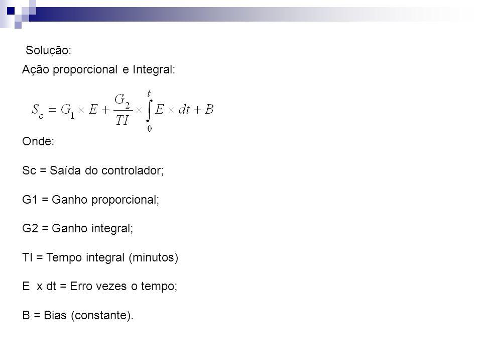 Solução: Ação proporcional e Integral: Onde: Sc = Saída do controlador; G1 = Ganho proporcional; G2 = Ganho integral; TI = Tempo integral (minutos) E