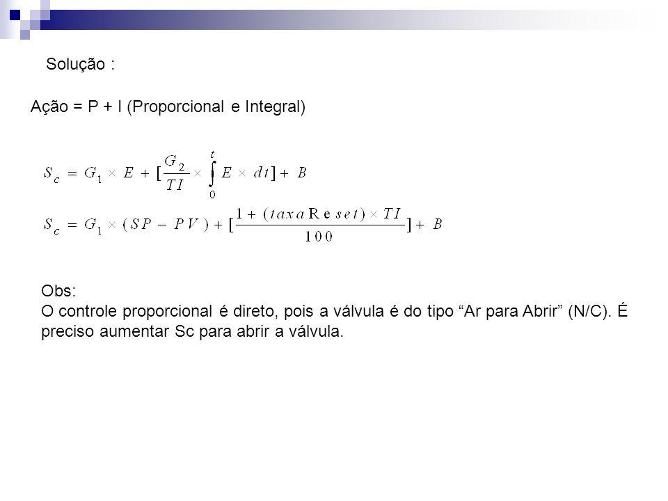 Solução : Ação = P + I (Proporcional e Integral) Obs: O controle proporcional é direto, pois a válvula é do tipo Ar para Abrir (N/C). É preciso aument