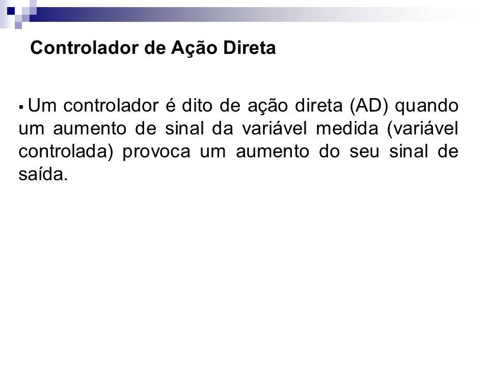 Controlador de Ação Direta Um controlador é dito de ação direta (AD) quando um aumento de sinal da variável medida (variável controlada) provoca um au