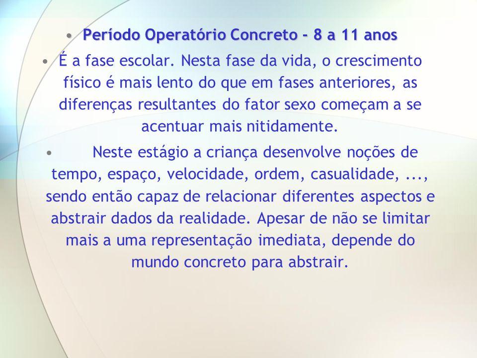 Período Operatório Concreto - 8 a 11 anosPeríodo Operatório Concreto - 8 a 11 anos É a fase escolar. Nesta fase da vida, o crescimento físico é mais l