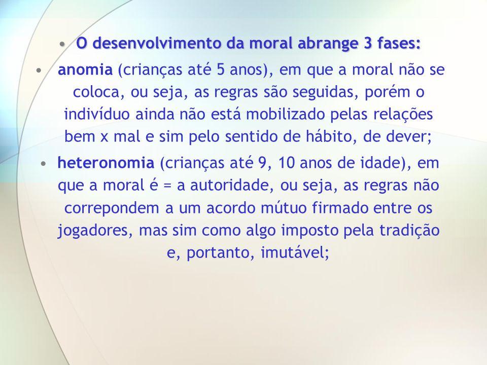 O desenvolvimento da moral abrange 3 fases:O desenvolvimento da moral abrange 3 fases: anomia (crianças até 5 anos), em que a moral não se coloca, ou