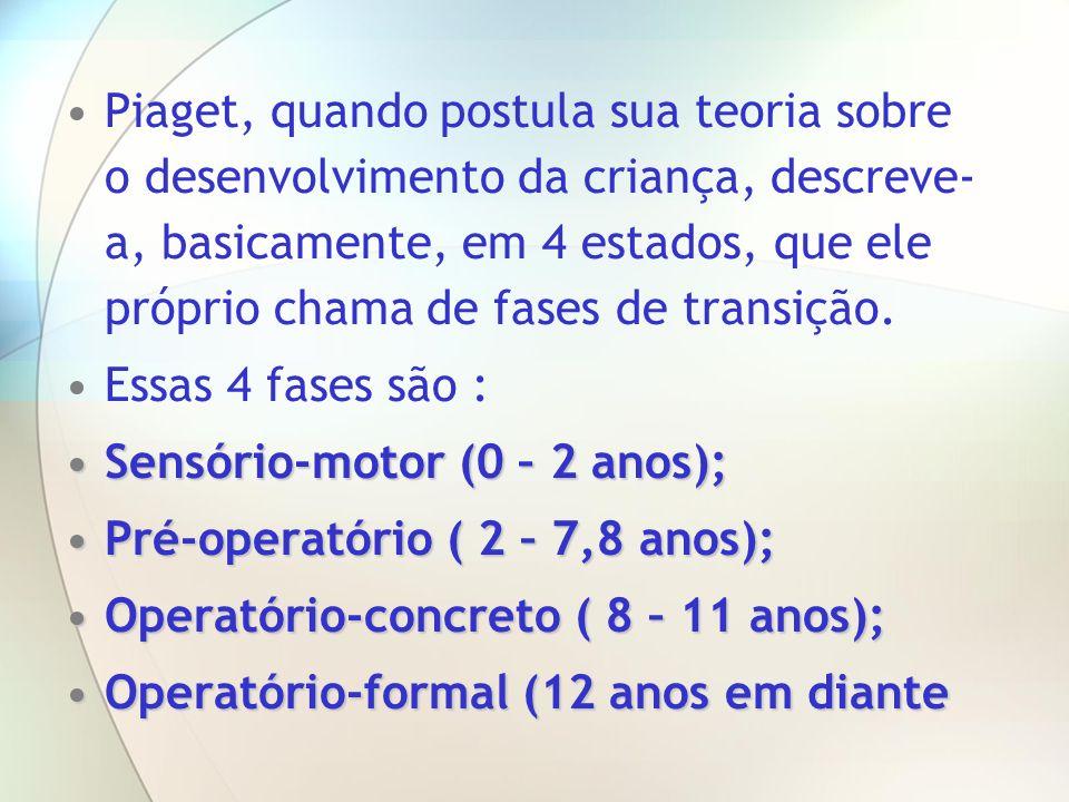 Piaget, quando postula sua teoria sobre o desenvolvimento da criança, descreve- a, basicamente, em 4 estados, que ele próprio chama de fases de transi