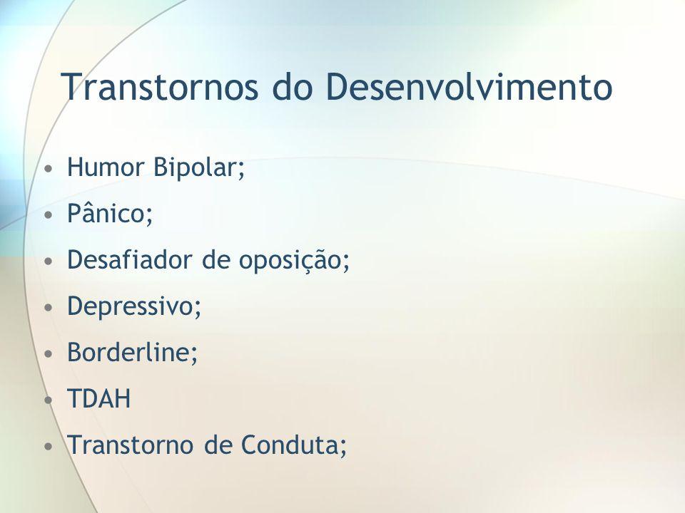 Transtornos do Desenvolvimento Humor Bipolar; Pânico; Desafiador de oposição; Depressivo; Borderline; TDAH Transtorno de Conduta;