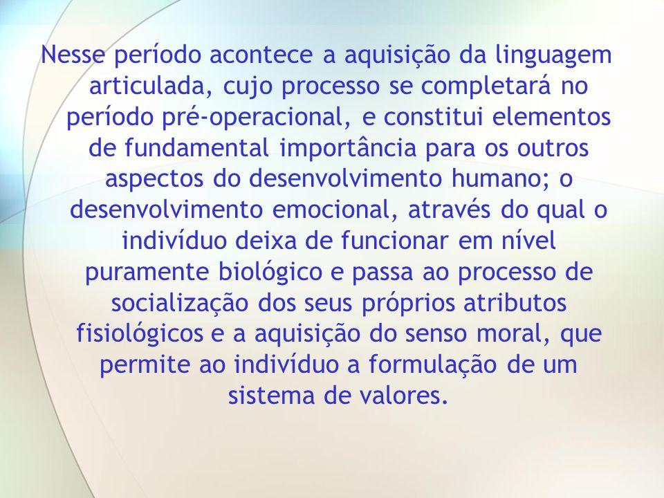 Nesse período acontece a aquisição da linguagem articulada, cujo processo se completará no período pré-operacional, e constitui elementos de fundament
