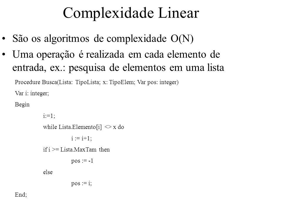 Complexidade Linear São os algoritmos de complexidade O(N) Uma operação é realizada em cada elemento de entrada, ex.: pesquisa de elementos em uma lis